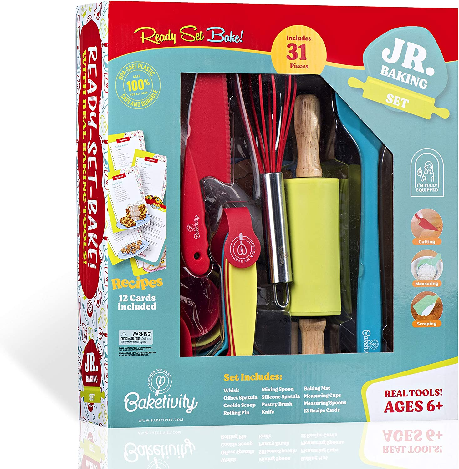 Ultimate Baking Gift Set for Girls Boys Toddlers Complete Baking Kit with Real Baking Tools for Kids Ages 6 and Up Junior Chefs Baketivity 31-Piece Kids Baking Set with 12 Free Recipe Cards