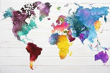 weltkarte aquarell Amazon.de: REINDERS Poster Weltkarte in Wasserfarben   World Map  weltkarte aquarell