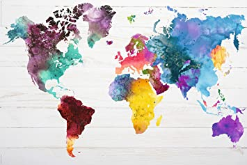 Amazon.de: REINDERS Poster Weltkarte in Wasserfarben - World Map ...