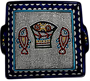 Oriental Arts Ceramic Serving Platters and Trays- Handmade Square Serving Dishes and Platters For Parties, Serving Plate With Handles for any Kind of Food (9.8 x 9.8 x 1.6 Inches, Color : Mosaic)