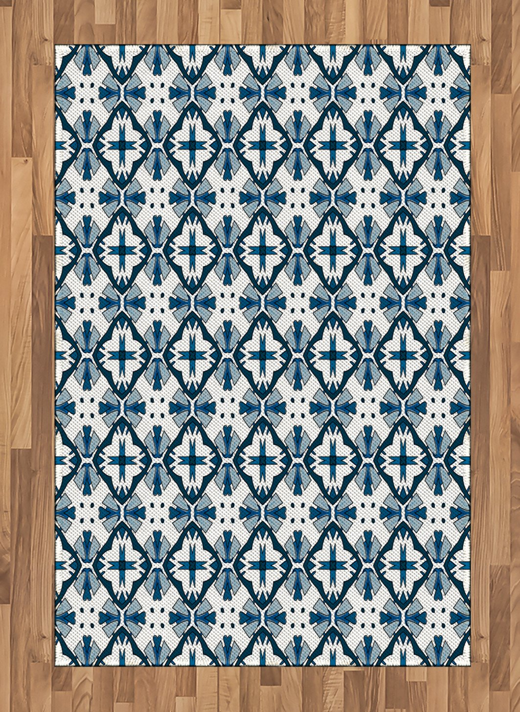 Amazon Com Ambesonne Blue And White Area Rug Traditional