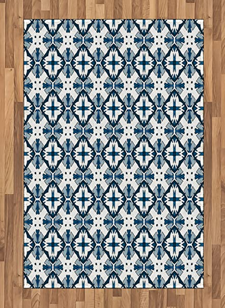 Amazoncom Ambesonne Blue And White Area Rug Traditional