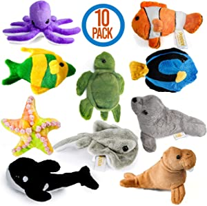 Prextex 10 Piece Plush Soft Stuffed Sea Animals Playset Plush Sea Life Assortment, Turtle, Stingray, Nemo Fish, Killer Whale and More