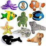 Prextex 10 Piece Plush Soft Stuffed Sea Animals Playset Plush Sea Life Assortment, Turtle, Stingray, Nemo Fish, Killer Whale