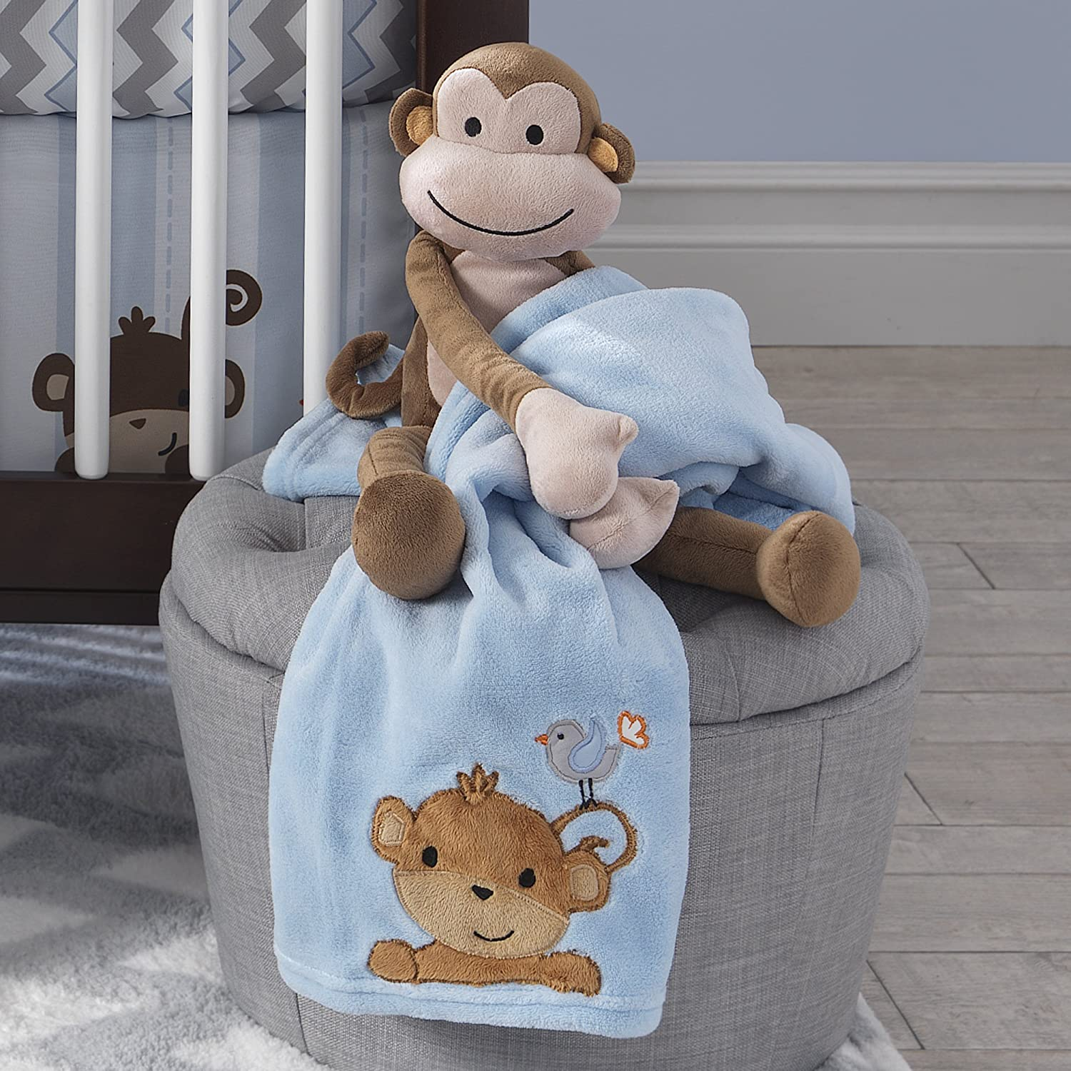 Bedtime Originals Mod Monkey Collection Blanket Blue
