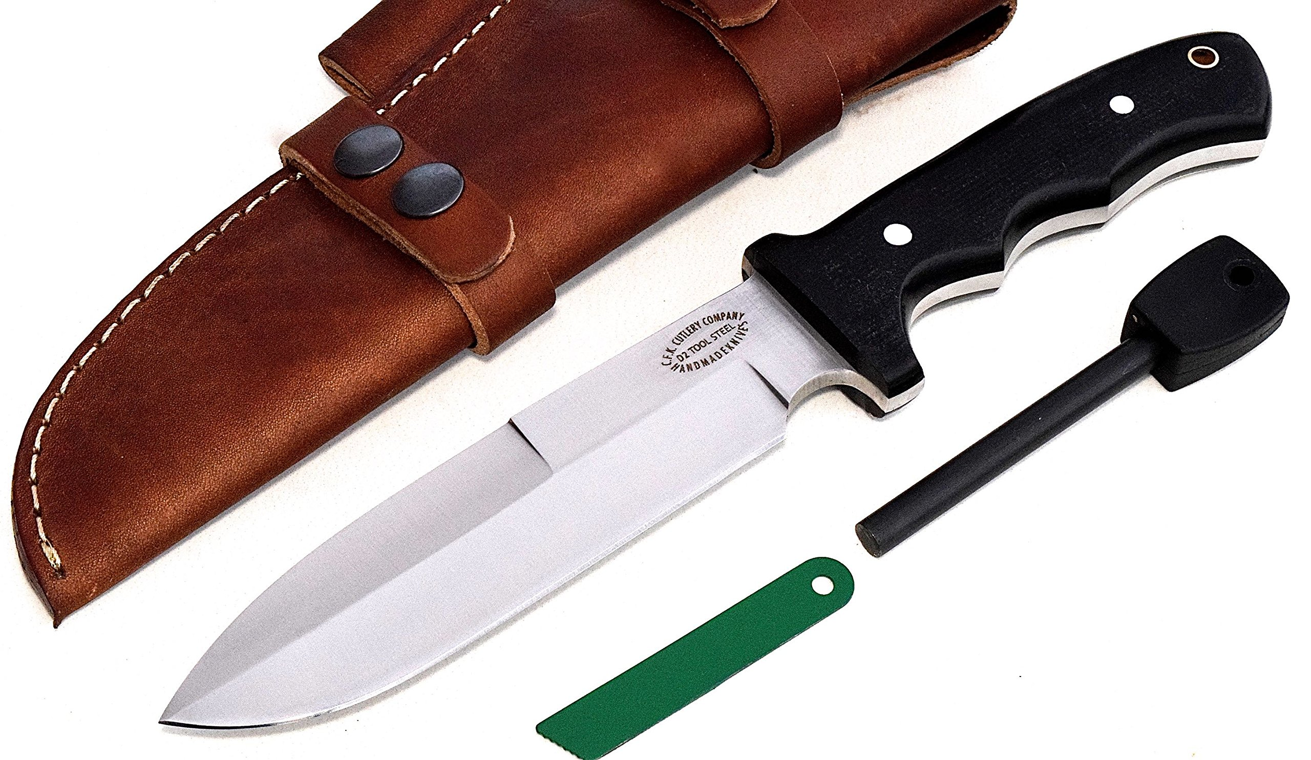 CFK Cutlery Company USA Micarta D2 Tool Steel Battle Shark Bushcraft Tactical Hunting Knife with Leather Sheath & Fire Starter Rod Set CFK111 by CFK Cutlery Company (Image #1)