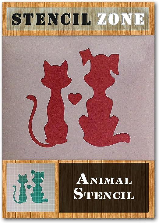 Dog Cat Animal Love Heart Friend Mylar Airbrush Painting Wall Art Crafts...