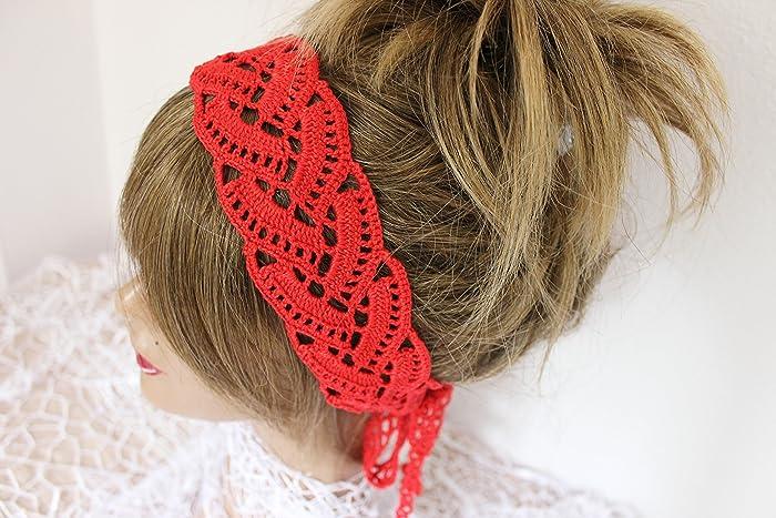 Amazon.com  Red Crochet headband 7b165cb2d13