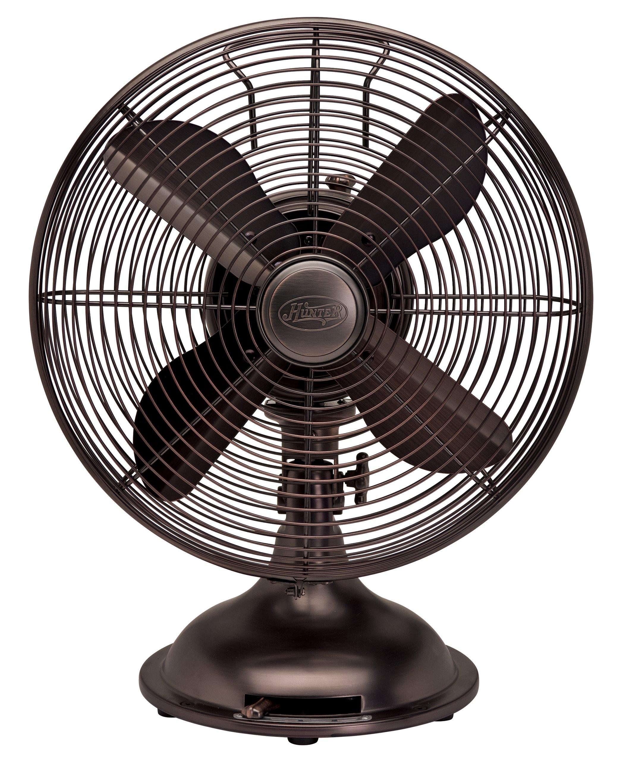 Hunter Fan 90406 12'' Oscillating Desk Fan - oil rubbed bronze Color