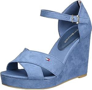6051991172acfa Tommy Hilfiger Women s E1285lena 45d Wedge Heels Sandals