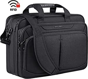 "KROSER Laptop Bag 17.1"" Upgraded Expandable Lightweight Briefcase for 17"" Laptop Premium Business Work Bag Water-Repellent Messenger Bag with RFID Pockets for School/Travel/Women/Men-Black"