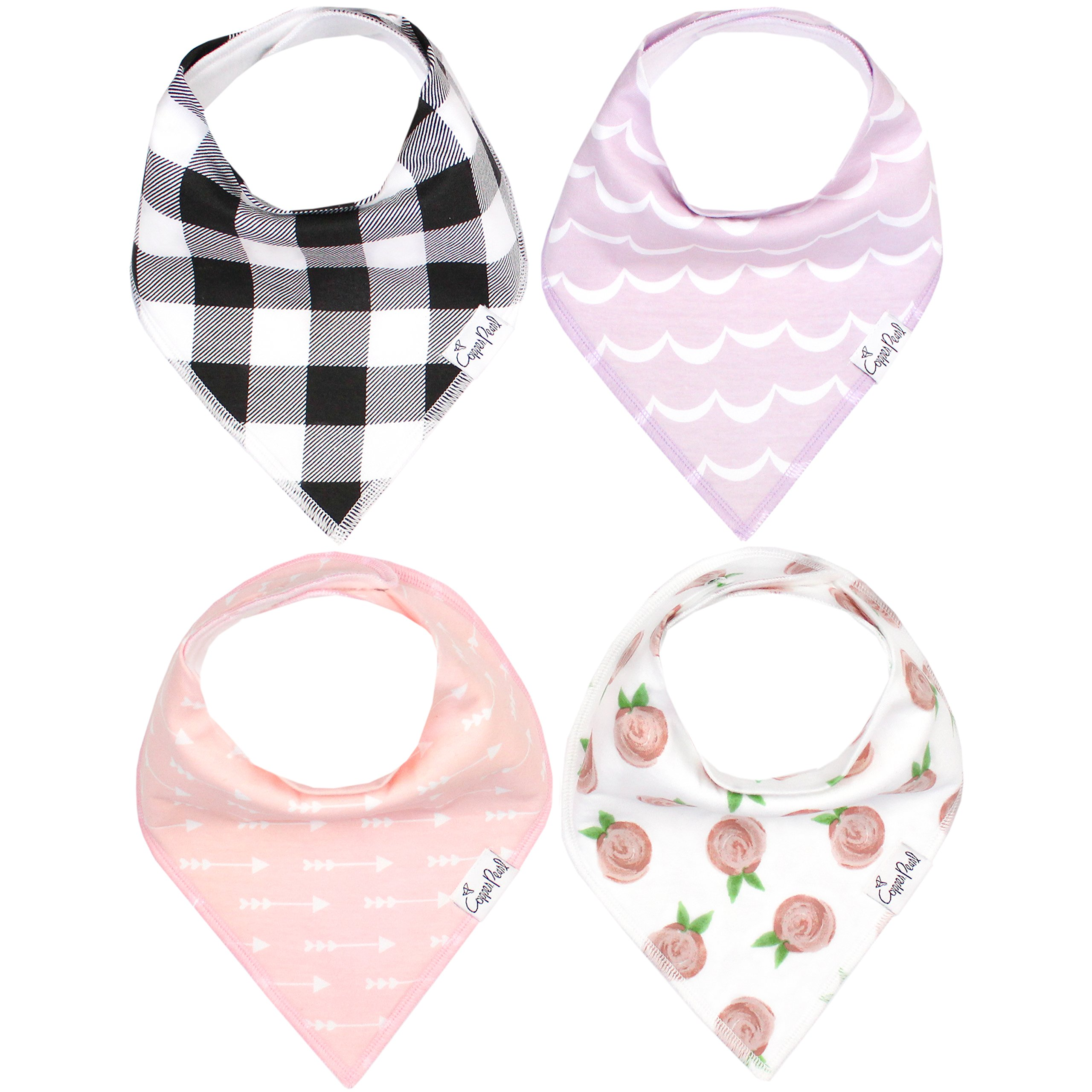 Baby Bandana Drool Bibs for Drooling and Teething 4 Pack Gift Set For Girls ''Rosie Set'' by Copper Pearl