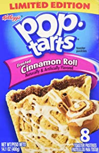 Kellogg's, Pop-Tarts, Cinnamon Roll, Frosted Toaster Pastries, 8 Count, 14.1oz Box (Pack of 6)