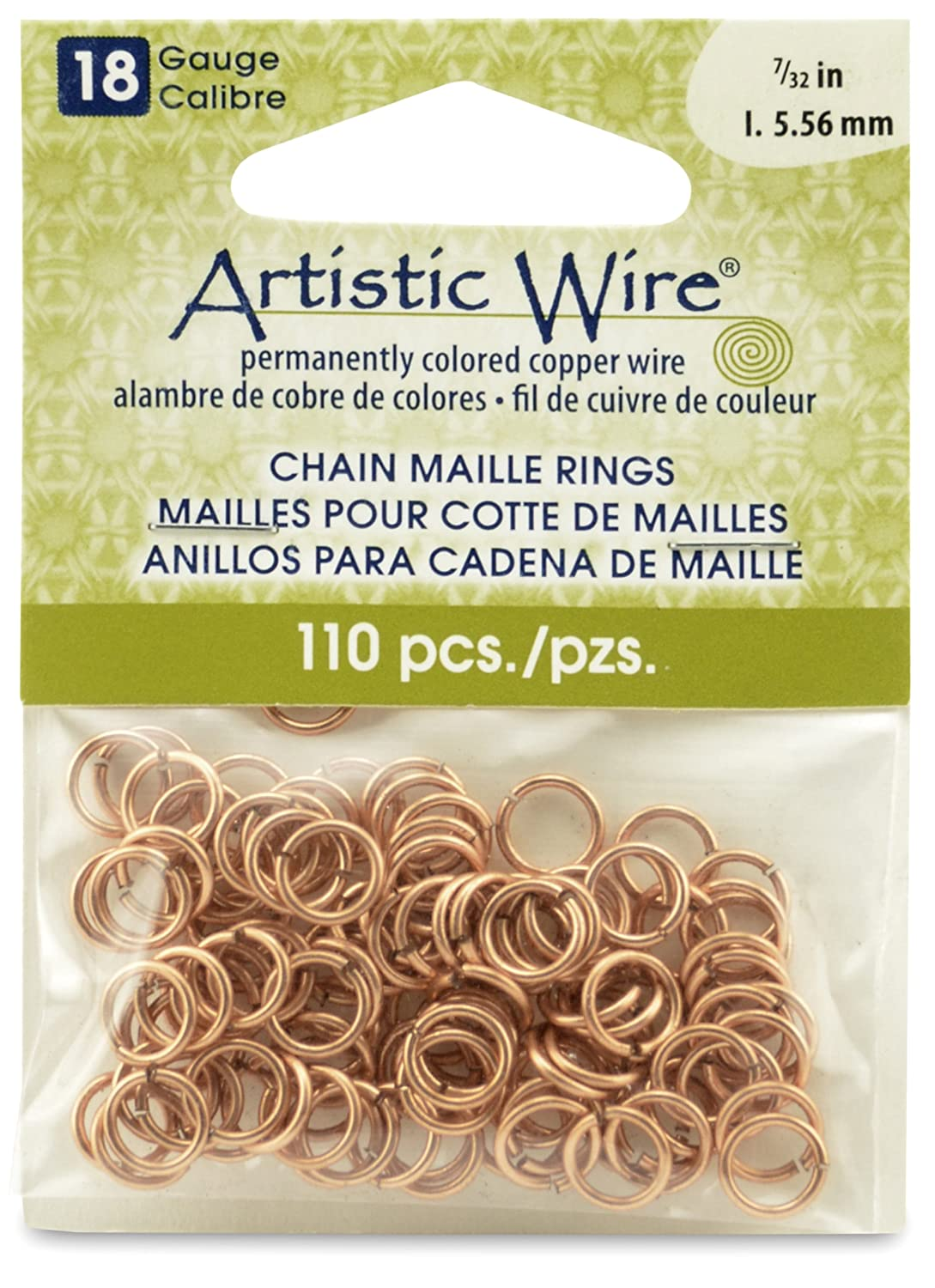 Artistic Wire Beadalon 7/32-inch 110 Piece 18-Gauge Natural Chain Maille Rings A314-18-10-09