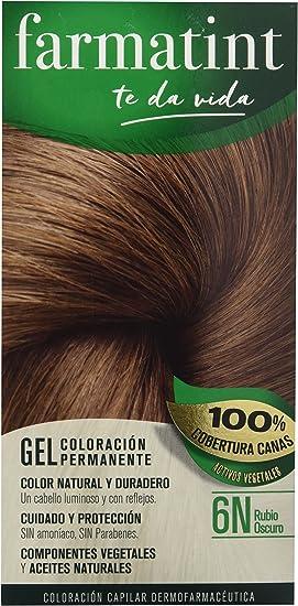 Farmatint Tinte permanente 6N Rubio Oscuroy, Cabello natural y color duradero. Sin amoníaco ni parabenes ni parafinas ni siliconas.
