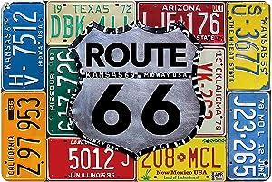 cafini Retro Tin Sign for Route 66 Multi License Plates Vintage Aluminum Metal Sign 8x12 Inch