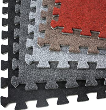 Greatmats Interlocking Carpet Tiles with Foam Cushion Backing 2x2 Ft x 5//8 Inch 25 Pack Charcoal Padded Waterproof Carpet Tiles