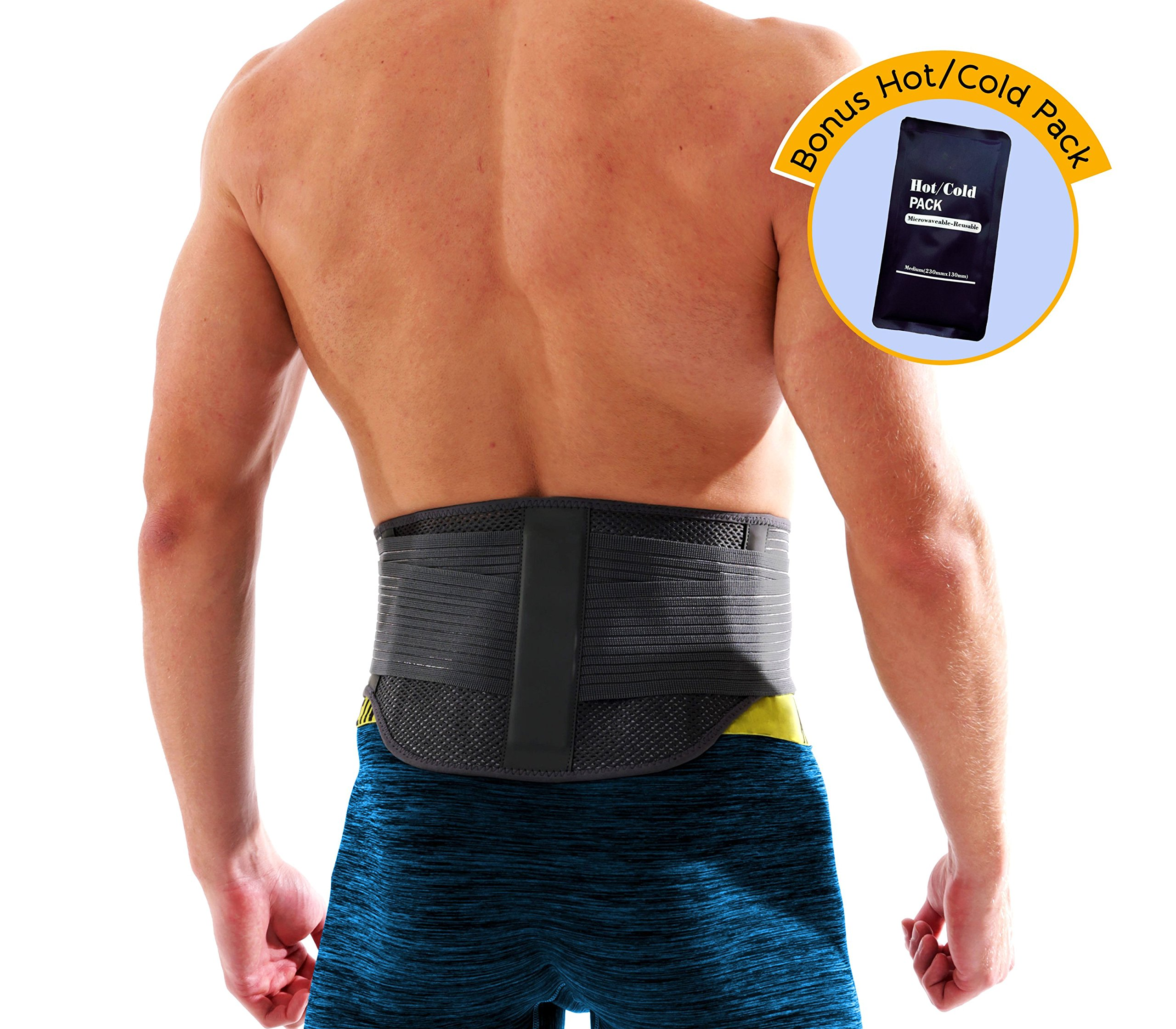 Lumbar Support Back Brace by MotuFit | Magnetic Therapy | Large Pocket for Hot Cold Pack | May Relieve Pain from Sciatica, Scoliosis, Muscle Spams