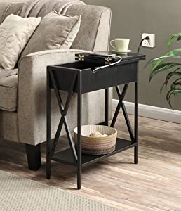 Convenience Concepts Tucson Electric Flip Top Table, Black
