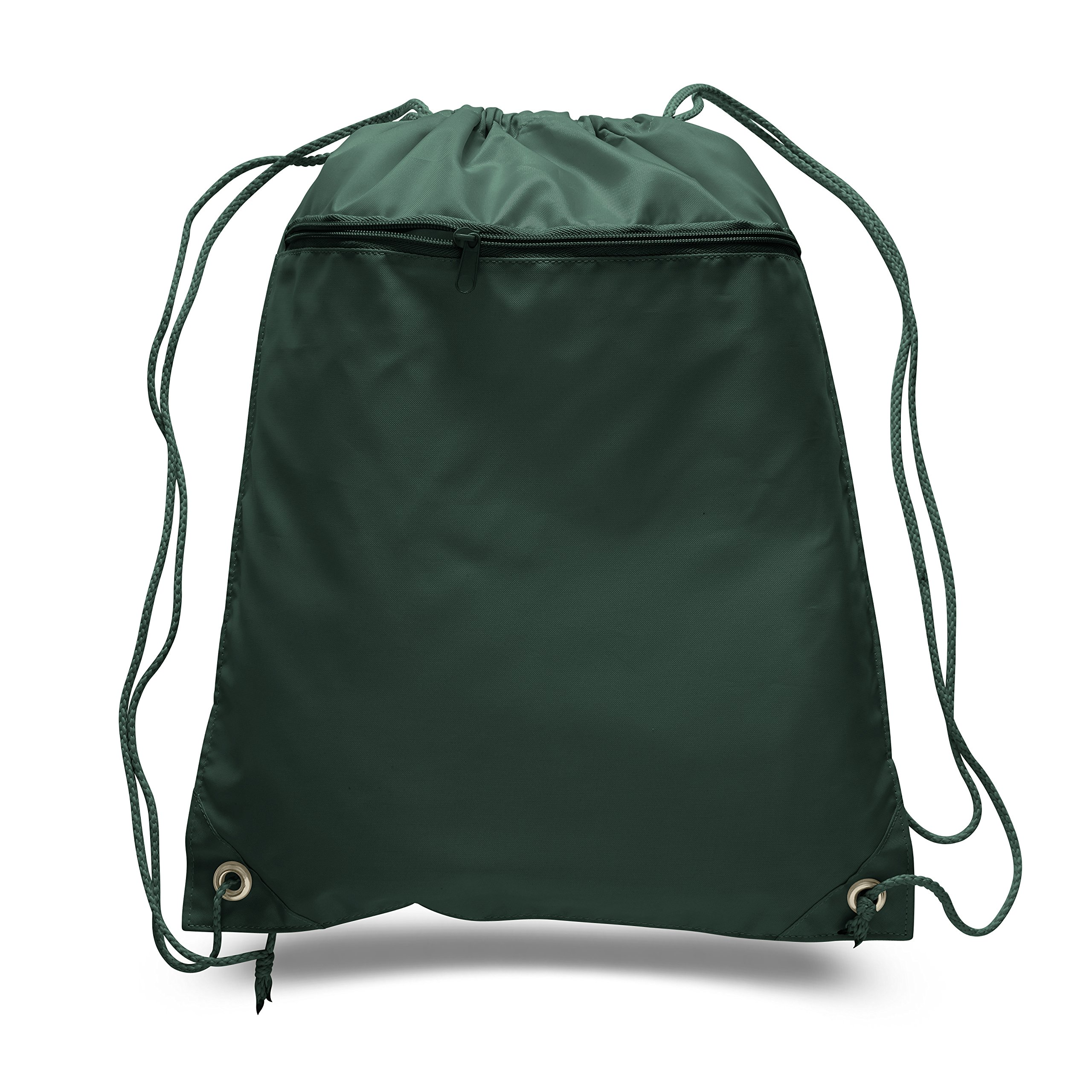 Cinch Sack Drawstring Tote Promotional Backpack Foldable Gym Sack Bag for Running, Shopping, Workout, Forest Green, Set of 24