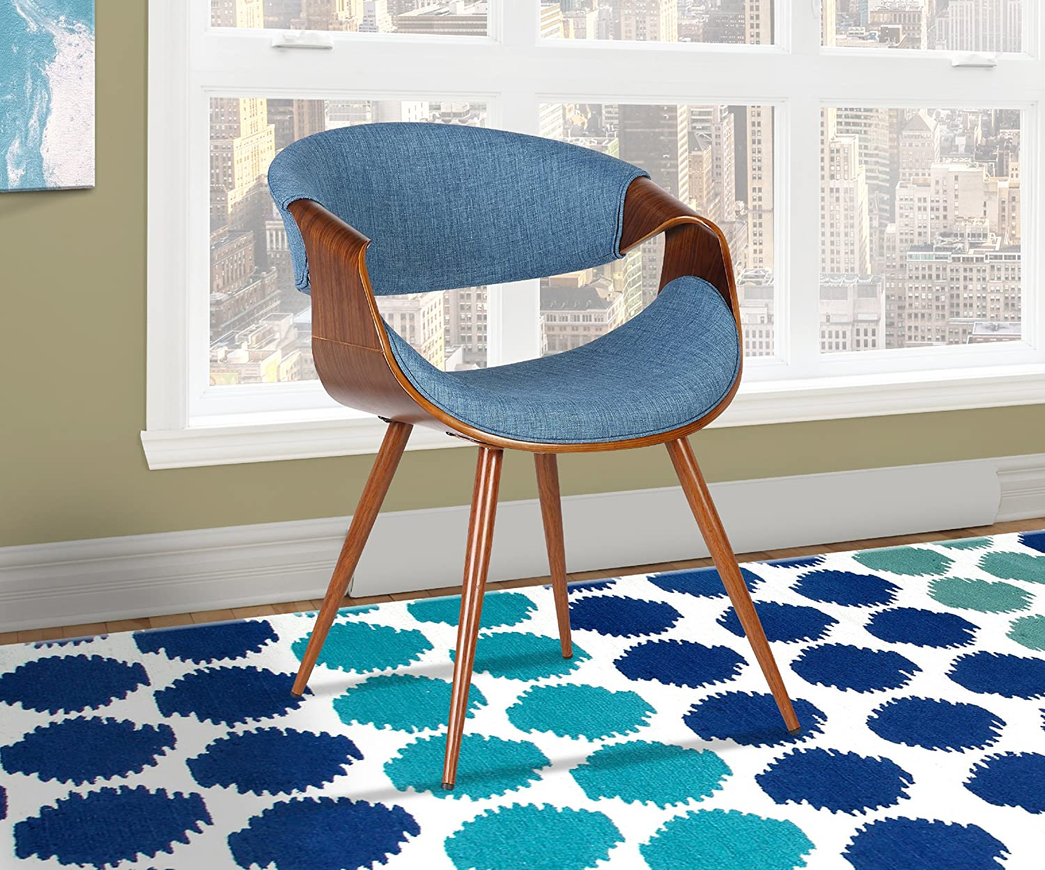 Armen Living LCBUCHWABL Butterfly Dining Chair in Blue Fabric and Walnut Wood Finish