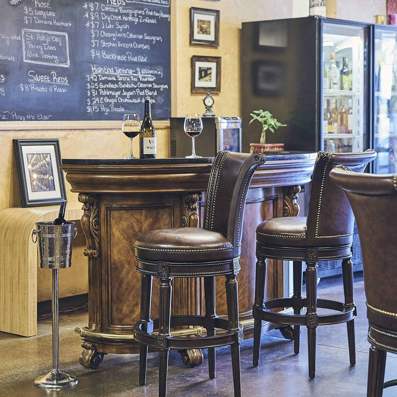 New Ridge Home Goods NewRidge Home Chapman Bar Height Swivel Barstool, Distressed Walnut