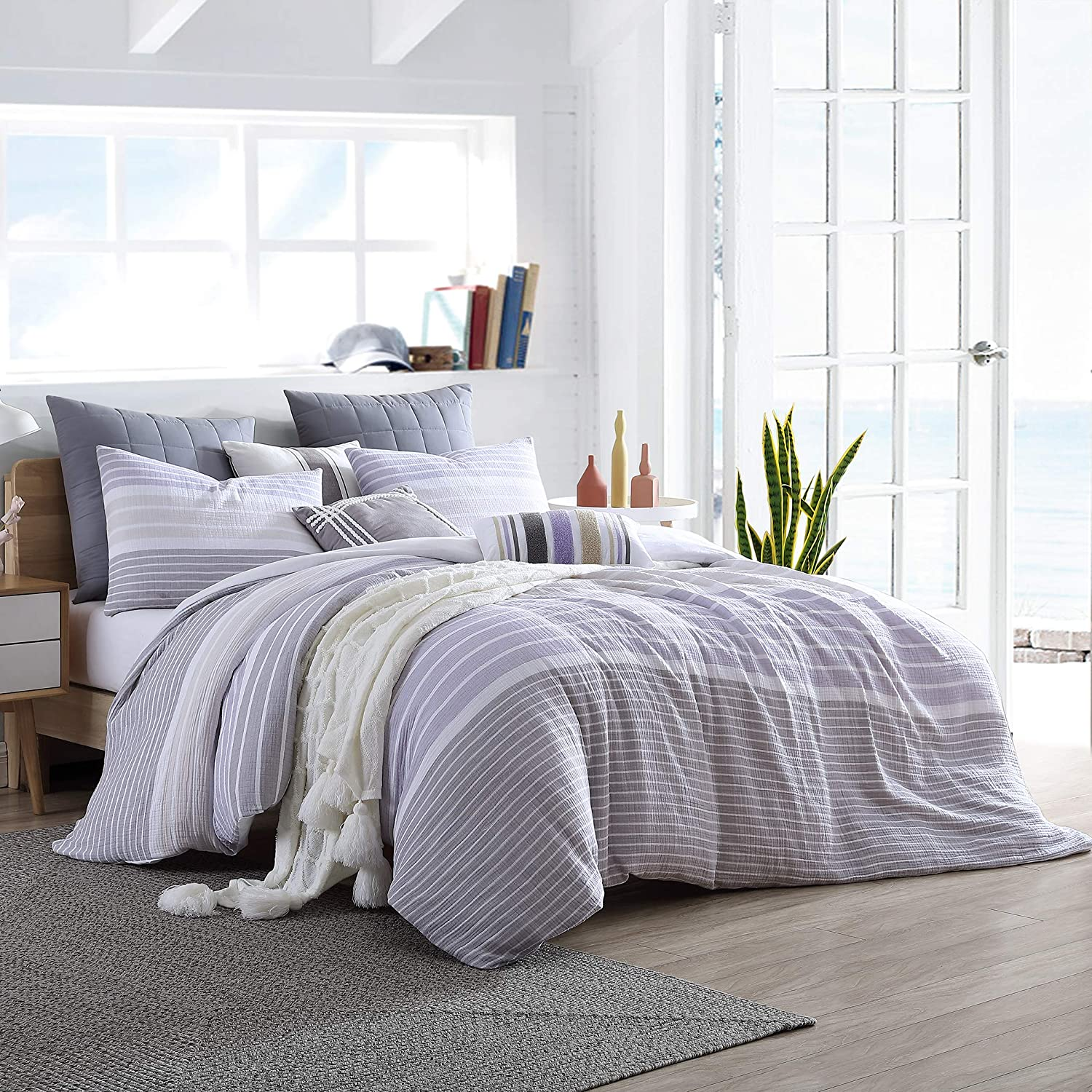 Swift Home Cordelia Prewashed Yarn-Dyed 100% Cotton Gauze Stripe Duvet Cover Set, Oeko-Tex Certified, Ultra Soft and Breathable, Button Closure, All Season - Purple, King/Cal King (104