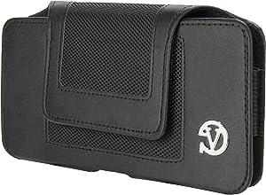 Executive Leather Holster Carrying Case (LEA077) for BLU Studio X Plus/BLU Studio One XL/BLU Pure XL/BLU Life 8 XL with SumacLife Wristband