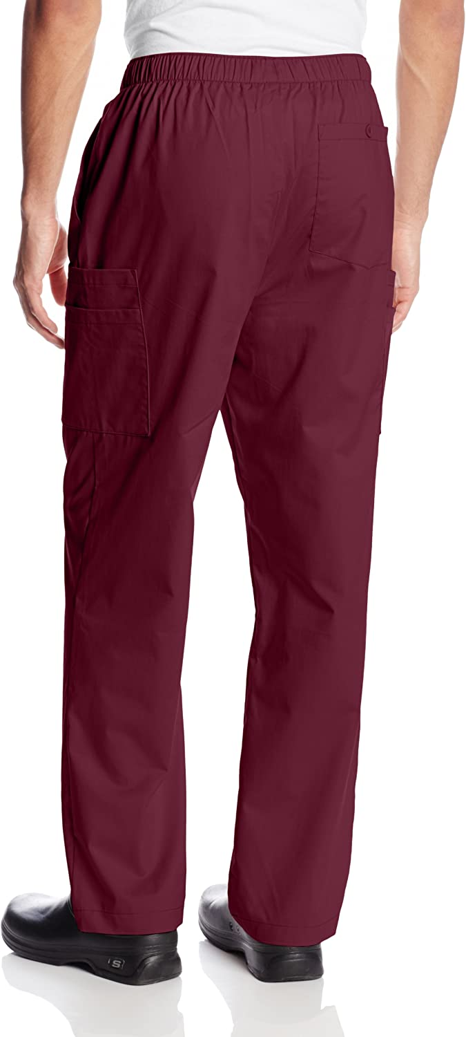 CHEROKEE Workwear Scrubs Men's Big & Tall Stretch Utility Pant Wine