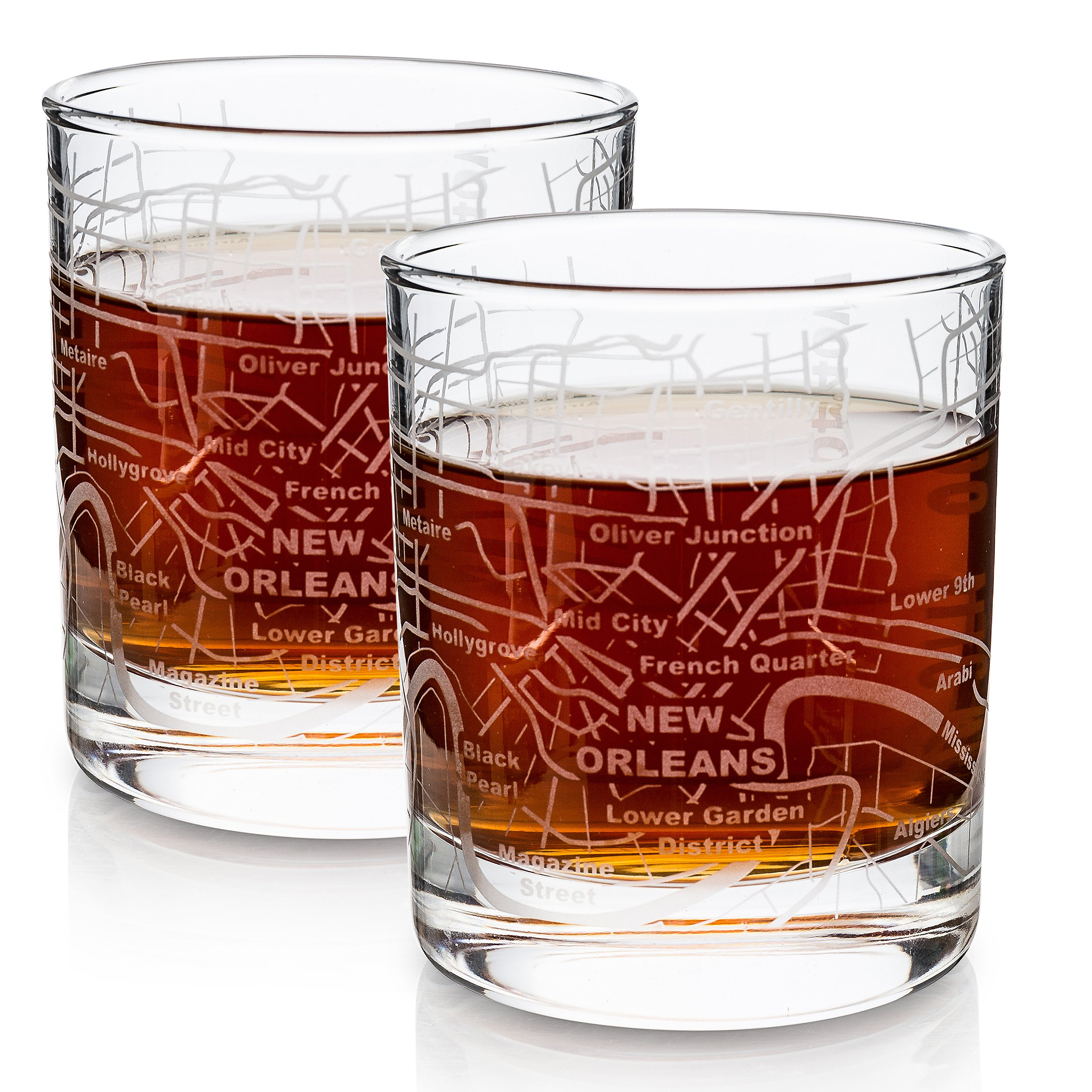 Etched Old Fashioned Whiskey Glasses - with Gift Box | 2 City Map Tumblers - New Orleans, LA