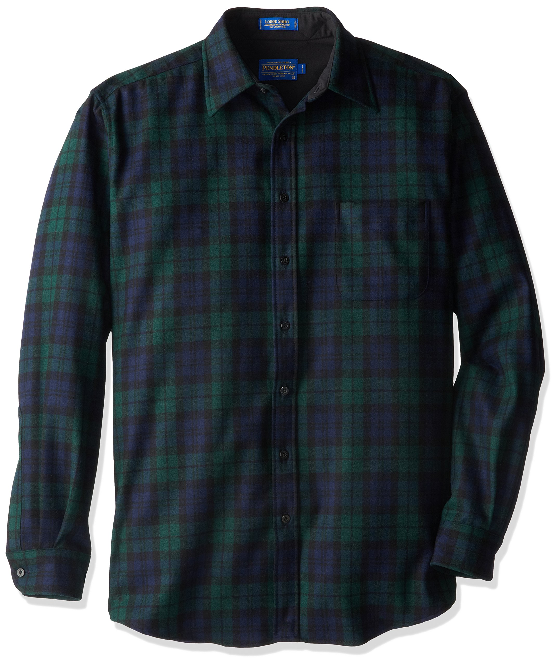 Pendleton Men's Long Sleeve Button Front Tall Lodge Shirt, Black Watch Tartan-30069, LG-TALL
