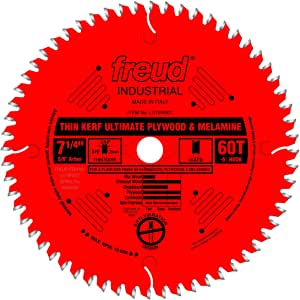 Freud LU79R007 Perma-Shield Coated Ultimate Plywood and Melamine Saw Blade, 5/8-Inch Arbor 7-1/4-Inch by 60t Hi-ATB 38-Degree, Multi, One Size