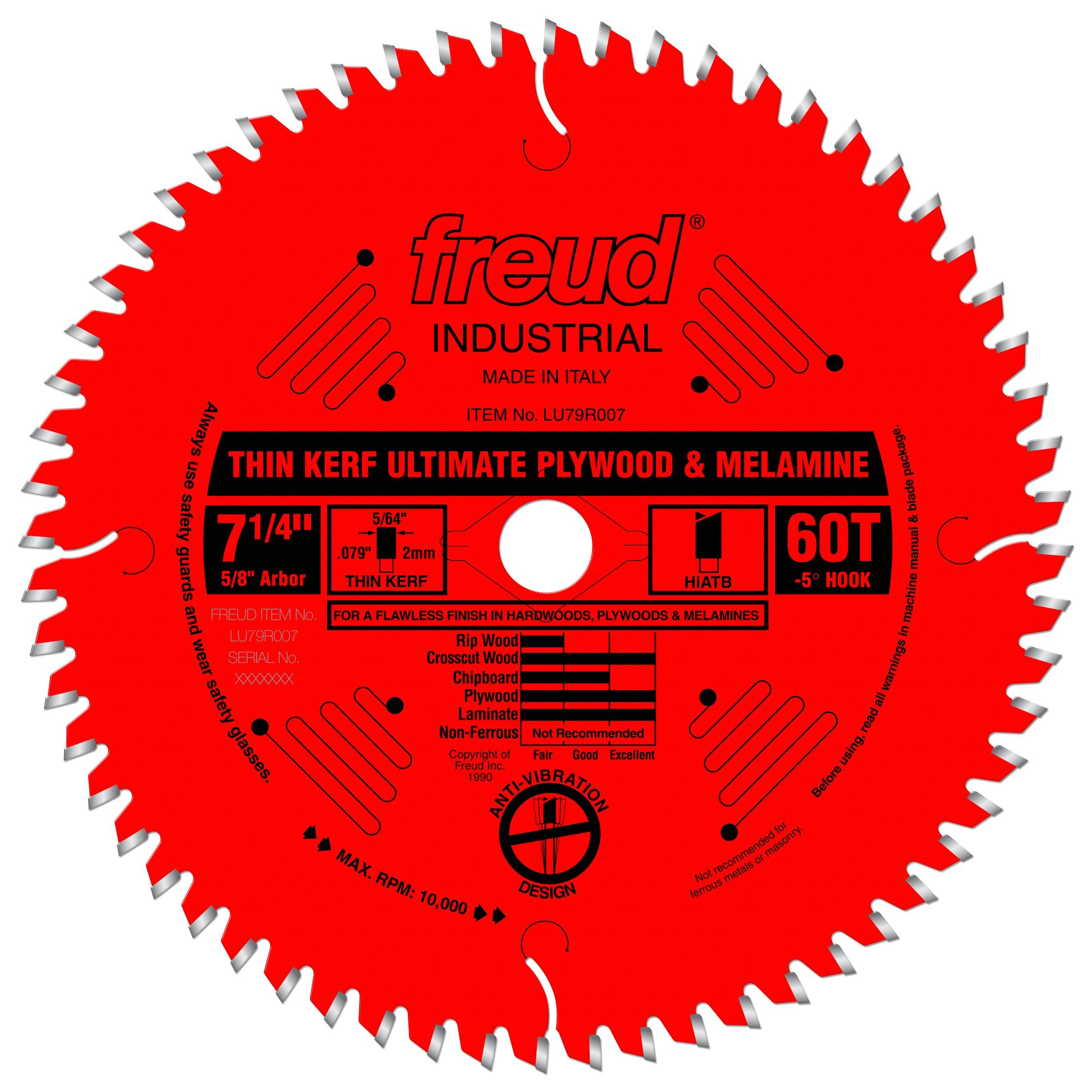 Freud 7-1/4'' x 60T Thin Kerf Ultimate Plywood & Melamine Blade (LU79R007)