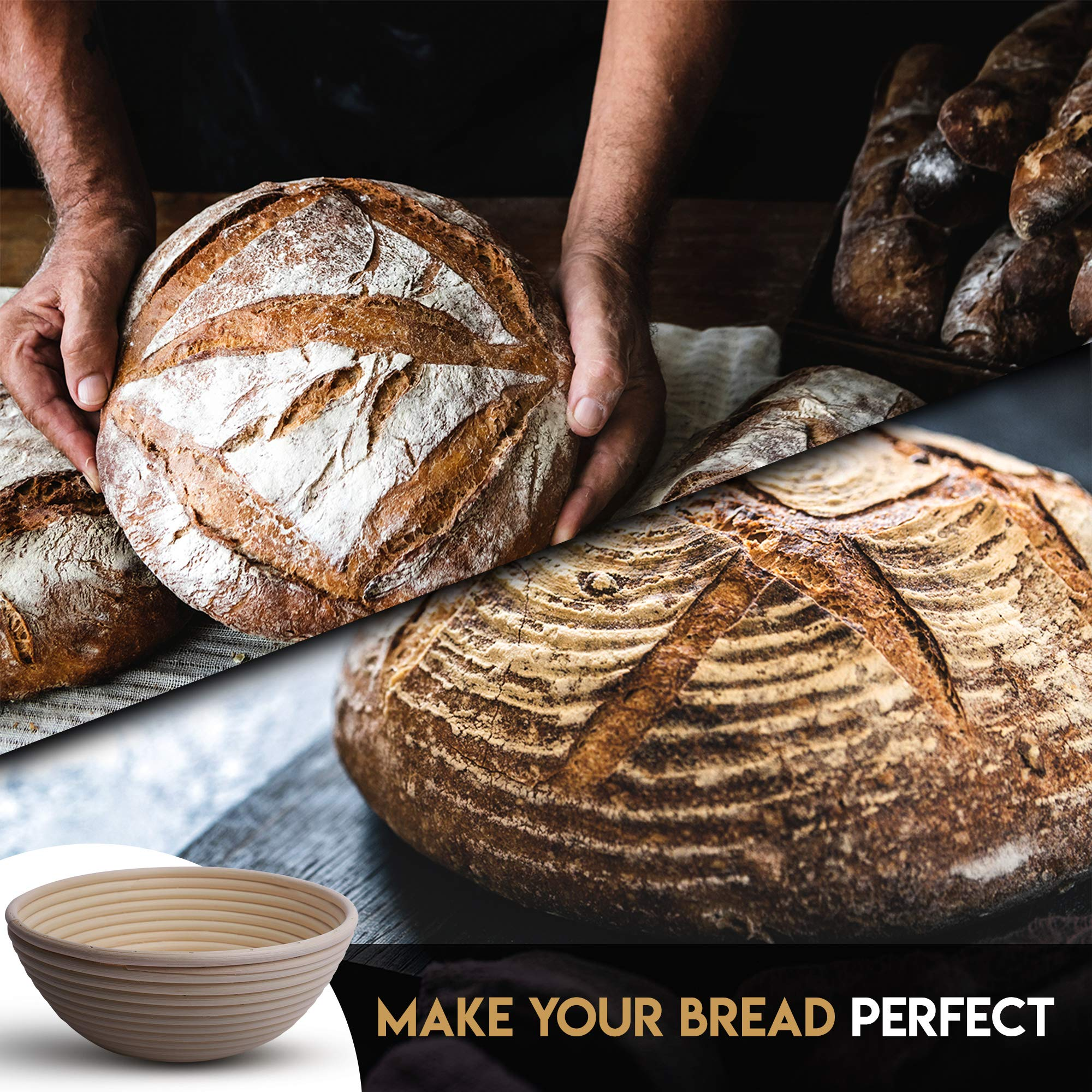 Banneton Bread Proofing Basket By Caesar Bread, 9 Inch Round Sourdough Brotform For Rising Dough Set, Include Cloth Liner, Scraper, Bread Lame, Brush & Recipe Book For Beginners & Professional Bakers by Caesar Bread (Image #5)