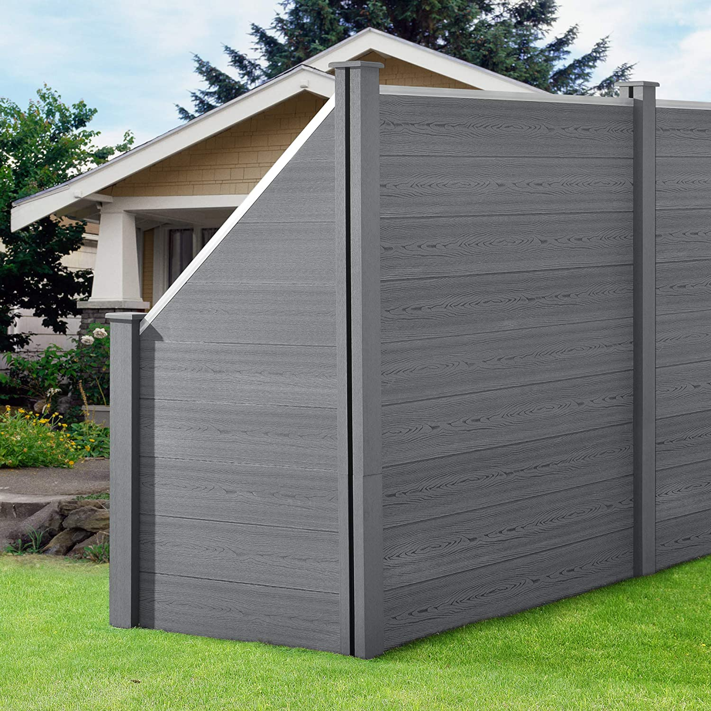 Neu Holz Wpc Gartenzaun Schragelement Sichtschutz Windschutz