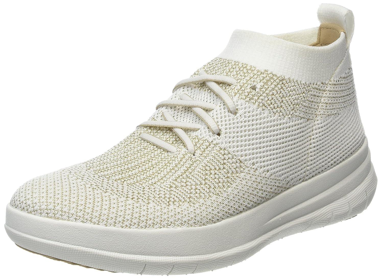 FitFlop Womens Uberknit Slip-On High-Top Sneaker B078BRR3L5 5 B(M) US Metallic Gold/Urban White