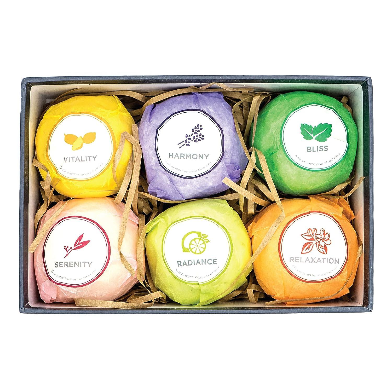The Escential Co. Bath Bomb Gift Set, Organic and Natural Bath Bomb Essential Oils Set, 6 VARIETIES AND FRAGRANCES