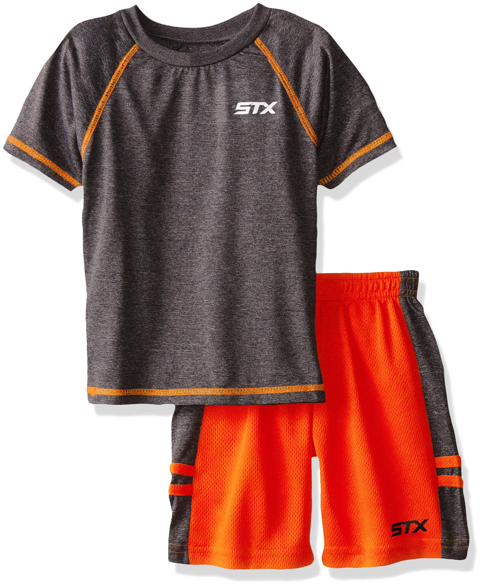 STX Big Boys' 2 Piece Performance Athletic T-Shirt and Short Set, Neon Orange, 8 by STX
