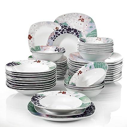 VEWEET 48 Piece Porcelain Dinnerware Sets Plate Sets Soup Plates Splendor Kitchen  Plates, Service