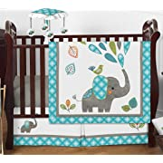 Turquoise Blue Gray and White Mod Elephant Girl or Boy Baby Bedding 4 Piece Crib Set Without Bumper
