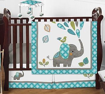 Amazon.com: Azul Turquesa Mod elefante gris y blanca 4 ...