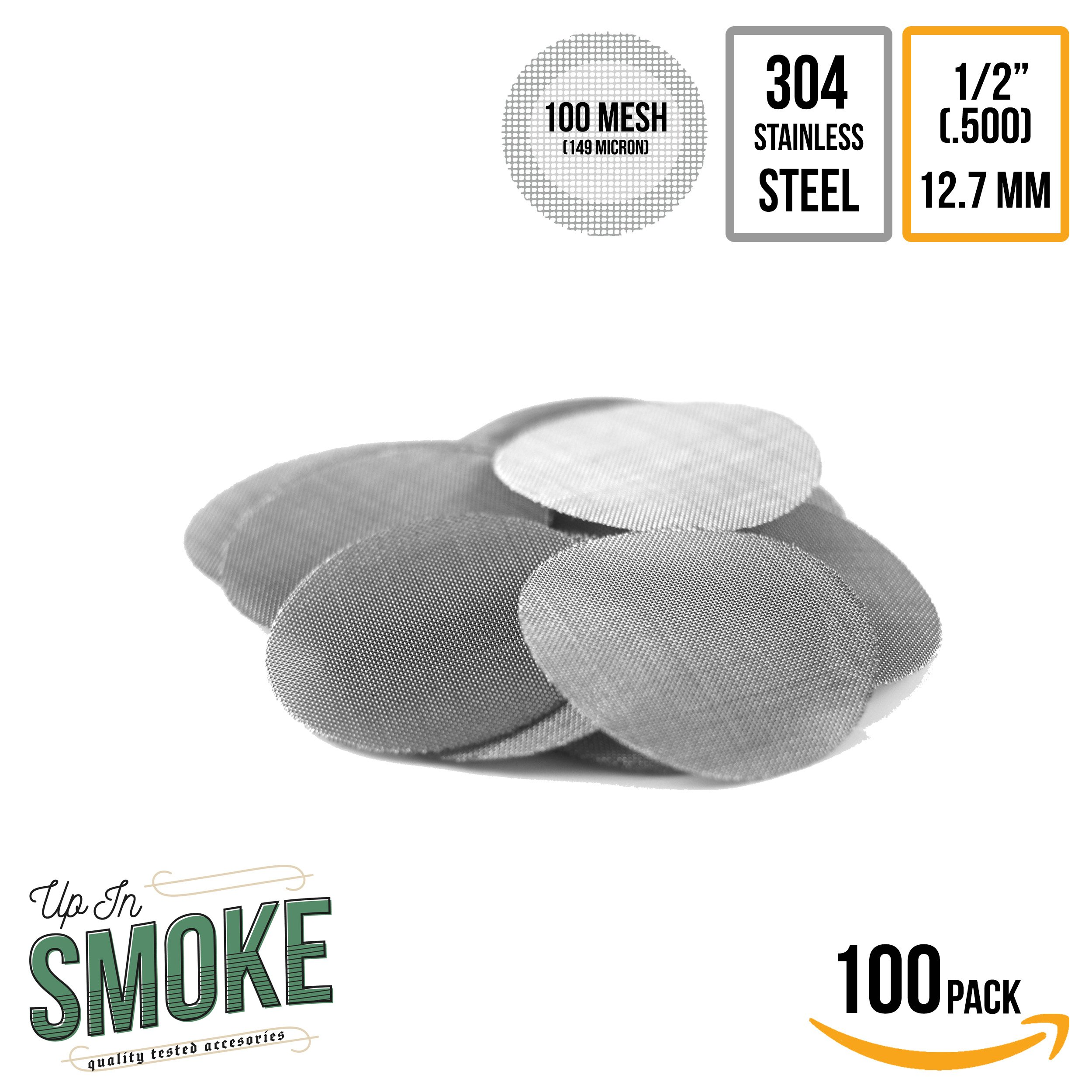 Made in The USA - 100 1/2'' (.500) Stainless Steel Pipe Screen Filter - up in Smoke Pipe Screens