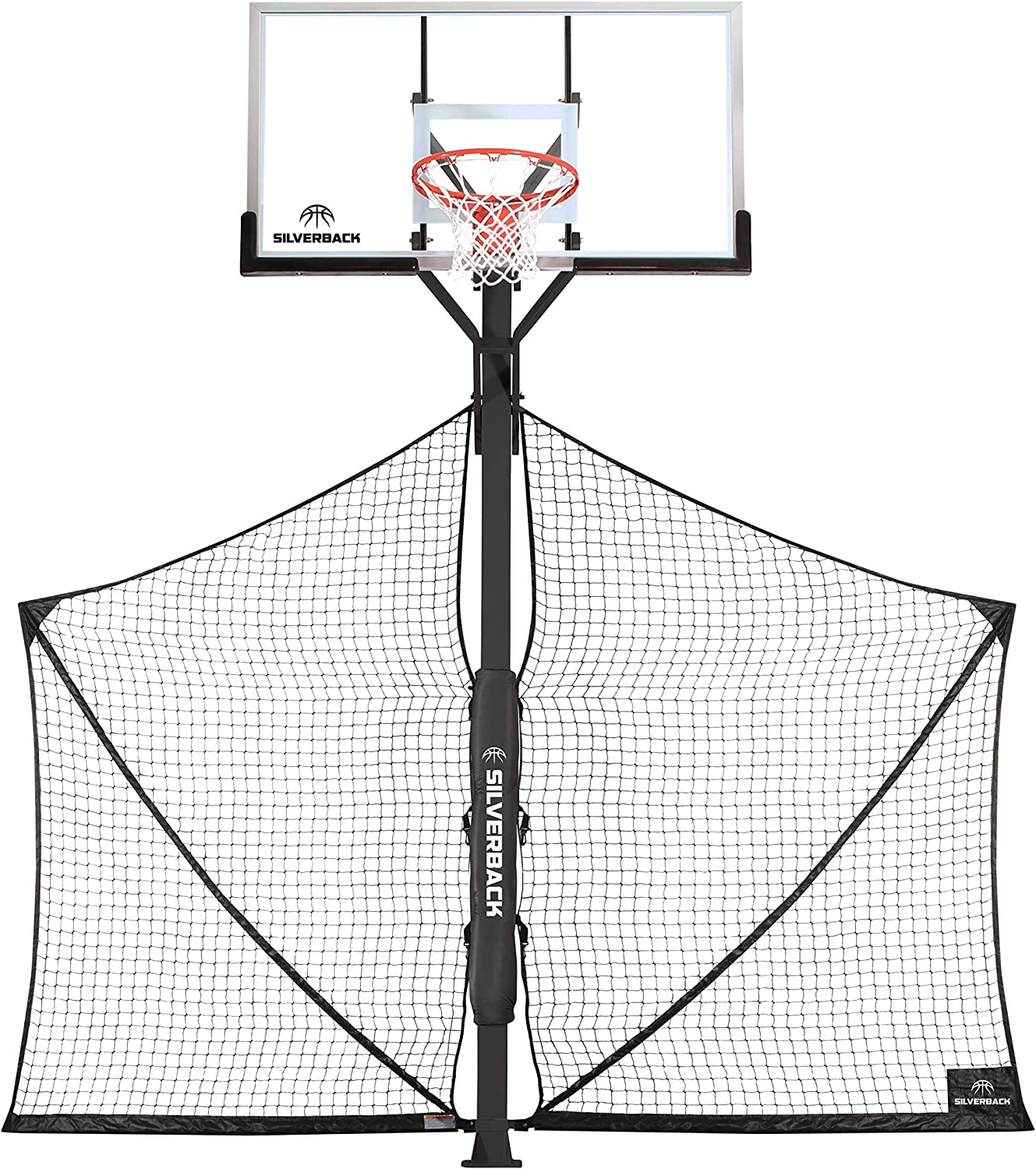Silverback Basketball Yard Guard Defensive Net System Rebounder with Foldable Net and Arms into Pole