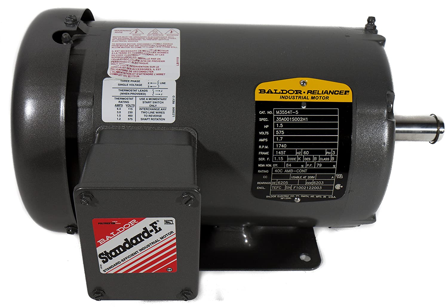 Baldor Electric M3554T-5 145T Frame TEFC AC Motor, 1-1/2 hp, 1740 RPM, 575V, 60 Hz, 3 Phase, 3524M, F1