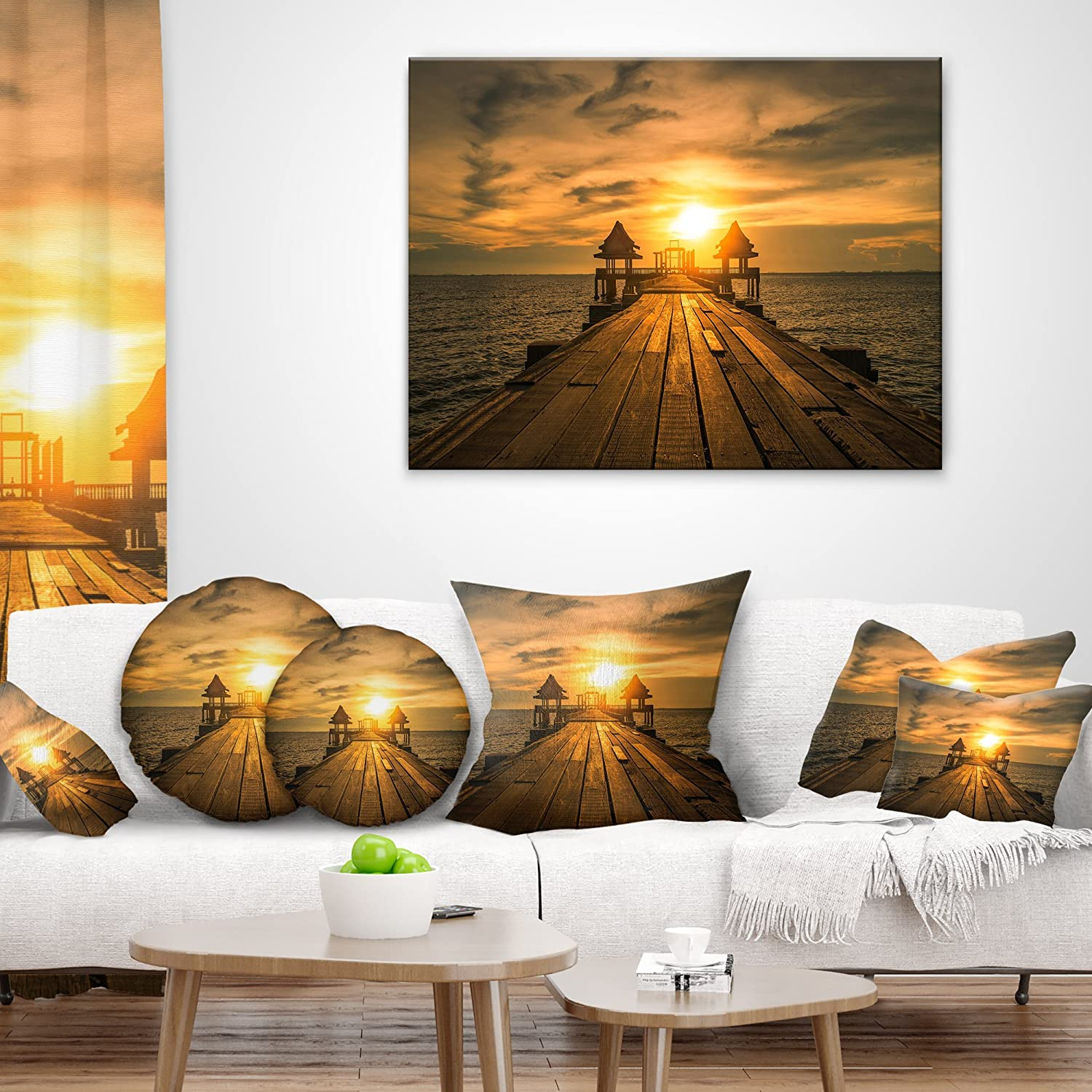 in Sofa Throw Pillow 26 in x 26 in Designart CU10630-26-26 Huge Wooden Bridge to Illuminated Sky Pier Seascape Cushion Cover for Living Room