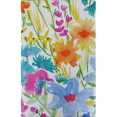 "Summer Meadow Watercolor with Zipper Umbrella Hole Vinyl Flannel Back Tablecloth (52"" x 70"" Oblong) : Garden & Outdoor"