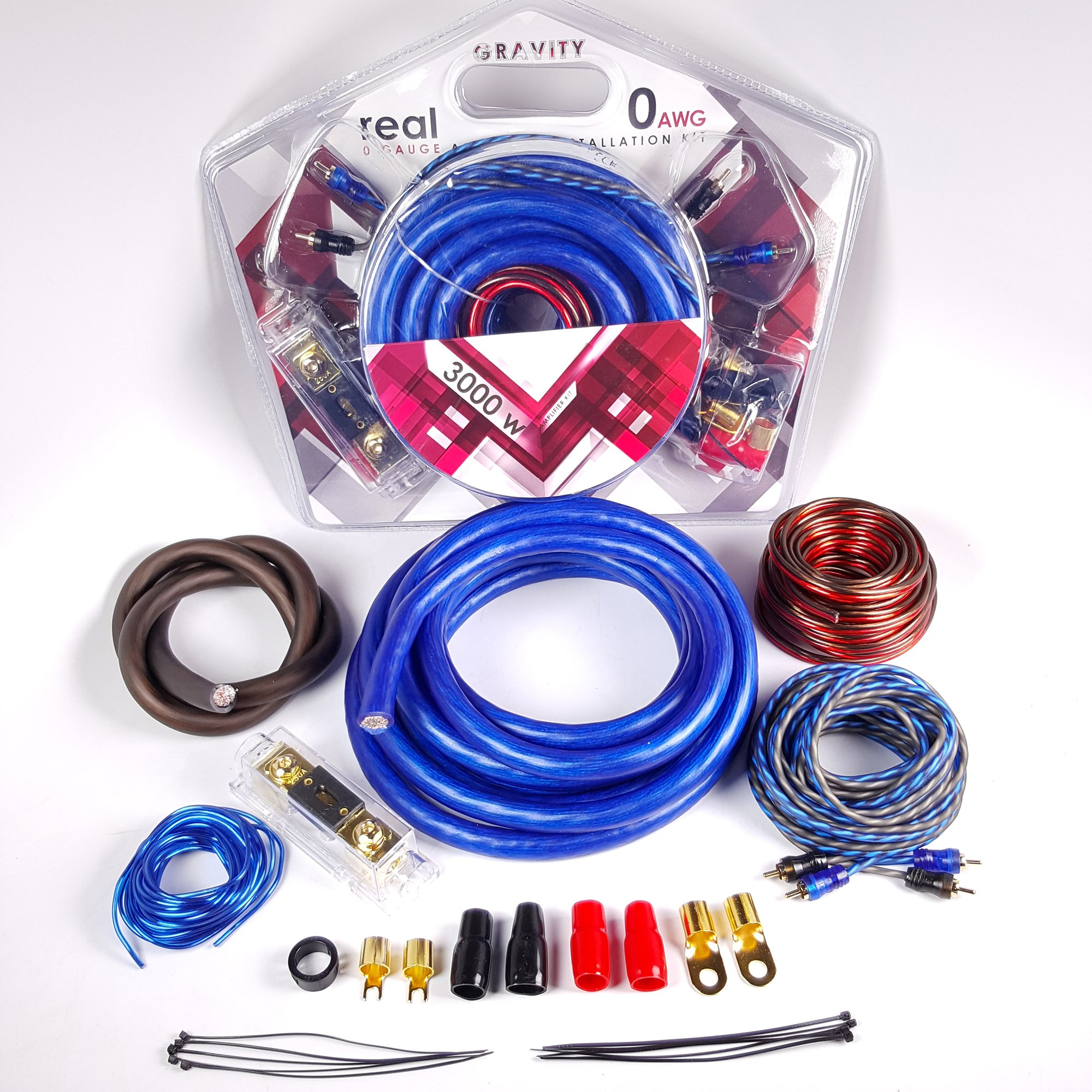 Gravity GR-KIT0ANLB 0 Gauge Amplifier Installation ANL Kit with High Performance RCA and Speaker Wire