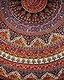 "Indian Mandala Print Round Cotton Tablecloth 76"" Brown"