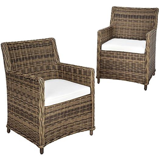 TecTake Juego de 2 sillones de poly ratán aluminio | marrón ...