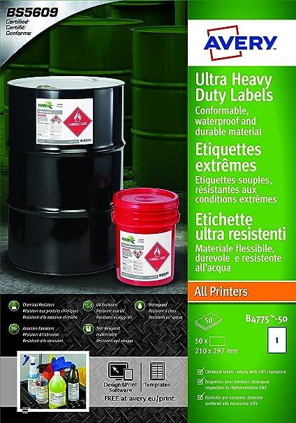 f/ür alle Drucker 52/x 74/mm 50/A4/Ultra robuste Wasserdicht GHS Etiketten wei/ß bs5609/zertifiziert Avery B5274